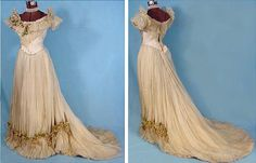 1890 dress - in Chiffon Silk of taffeta, trimmed with  wax branch Lilacs .