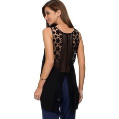 Black Crochet Back Slit Design Asymmetrical Tank Top ($28) ❤ liked on Polyvore featuring tops, black, macrame top, sleeveless tops, crochet tank top, chiffon tank and asymmetric top