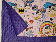 WONDER WOMAN Baby Blanket Minky Superhero by AuntBsBonnets, $21.00