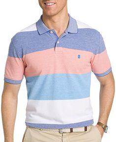 IZOD Mens Mazarine Colorblock Polo Shirt Large Mazarine blue/red/white