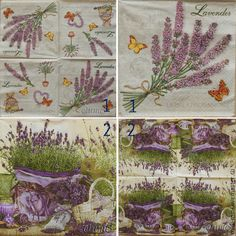 Купить салфетки декупаж 2 вида цветы лаванда дача сад принт - салфетки, Декупаж