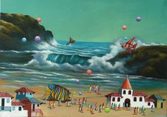 With his provocative mastery of Andean Indigenous surrealism, Cesar invites us to a new setting: the coast of Puerto Lopez, where many colorful fish casually weave in and out through town roads and the crashing waves capture the magnificence of Ecuador's vast ocean. Despite new scenery, Cesar maintains his signature style with picturesque houses, white church towers, and playful balloons floating throughout.    http://www.artsumo.com/Ecuador/Puerto-Lopez