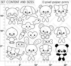 Crafts for preschools : Kawaii animals Digital Stamps Adult Coloring, Coloring Pages, Tattoo Painting, Arts And Crafts, Paper Crafts, Digital Stamps, Baby Quilts, Art Images, Embroidery Patterns