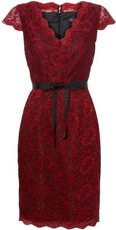 For Theatrical Romantic a feminine and shapely dress with a soft neckline, tapered hemline in dark colored lace. Episode Red Lace Belted Shift Dress