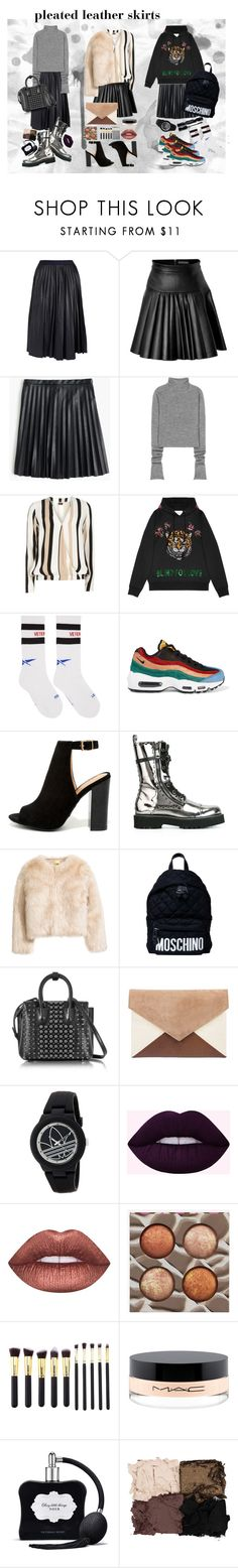 """""""pleated leather skirts"""" by jooseefiinee ❤ liked on Polyvore featuring Theory, David Koma, J.Crew, Acne Studios, Dorothy Perkins, Gucci, Vetements, NIKE, Bamboo and Dolce&Gabbana"""
