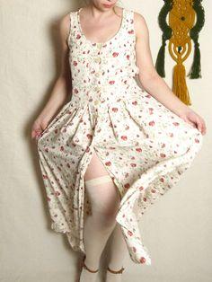 80s dress 90s Vintage Poppy print Romantic dress Sleeveless