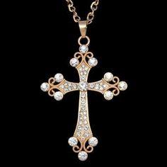 Cross Pendant Necklace. Crystal CrossLong Chain ... 94c923fef82e