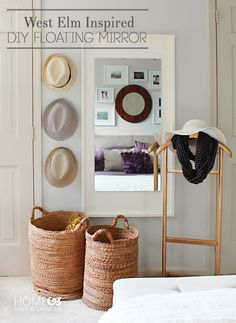 DIY Floating Mirror: Upcycle a cheap mirror into an elegant wall statement pieces using plywood, wood glue, and paint.