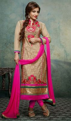 Bollywood star Soha Ali Khan beige georgette churidar dress makes perfect combo for evening party requirement. Dress is embellished with lace, silk thread embroidered floral design and sequins which makes you too look quite stylish and graceful. The dress comes with contrast pink chiffon dupatta and pink shantoon bottom. #NewLovelyBoollywoodCollection