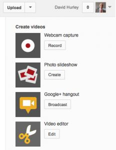 Here's The Webcam Capture Icon on YouTube (top icon). Use it to make and upload videos quickly and easily.