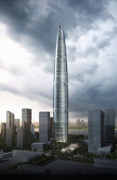 Wuhan Greenland Center by Adrian Smith and Gordan Gill Architecture >> The Wuhan Greenland Center, at 606 meters (1,988 feet), will likely be China's third-tallest building, and the fourth tallest in the world, when completed in 2016.