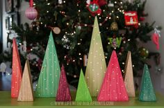 Easy DIY Christmas Craft, holiday forest out of 2x6 wood