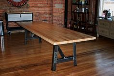 8' Industrial dining table Butcher block top by MaruModern on Etsy, $1600.00