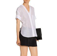 NWT HELMUT LANG White Cotton Silk Roll Sleeve V Neck Shirting Blouse Tunic P XS #HELMUTLANG #ButtonDownShirt #Casual