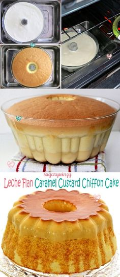 Luscious leche flan aka caramel custard on a light and fluffy chiffon cake is a unique and delicious cake that gives you the best of both worlds. Flan Cake, Custard Cake, Custard Desserts, Chocoflan Recipe, Cake Recipes, Dessert Recipes, Steak Recipes, Cupcake Cakes, Cupcakes