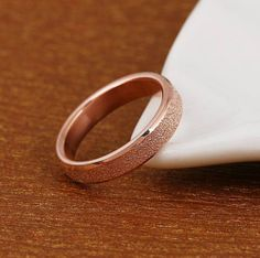 """6mm MEN'S Stainless Steel """"FROSTED ROSE GOLD"""" Band Ring - FREE Gift Pouch    #Band"""