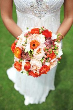 Round Bridal Bouquet: White Freesia, Sangria Colored Queen Protea, Peach English Garden Roses, Orange & Red-Orange Ranunculus + Peach & Coral Hypericum Berries