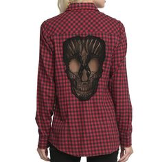Stylish Shirt Collar Long Sleeve Plaid Skull Pattern Women's Shirt