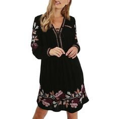 Women's Topshop Floral Embroidery Velvet Dress ($125) ❤ liked on Polyvore featuring dresses, black multi, bohemian dresses, boho chic dresses, embroidered dress, boho dresses and long sleeve dress