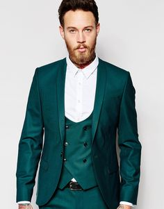Noose+&+Monkey+Green+Suit+with+Stretch+And+Shawl+Lapel+in+Skinny+Fit