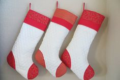 Christmas quilted stockings. Large stockings for the generous Santa. Visit Ropotique on Etsy.