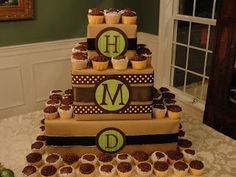 Imperfectly Beautiful: DIY Monogrammed Cupcake Tower but use black yellow and white for Mickey Mouse birthday... Letters c for chase bottom j for Jonathan and middle 3 for their age....