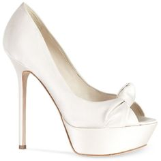 Sergio Rossi Champagne Satin Odalisca Pump 100mm ($750) ❤ liked on Polyvore