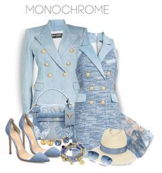 """""""#monochrome  Blue City Girl"""" by onesweetthing on Polyvore featuring Balmain, Chanel, Valentino, Gianvito Rossi, Maison Michel, Tory Burch, Christian Dior and Gurhan"""