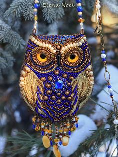 Handmade beaded pendant 'FAIRY OWL' sits in the winter snow-covered forest . by Elena Noel Owl Jewelry, Beaded Jewelry, Handmade Jewelry, Beaded Necklace, Owl Necklace, Jewellery, Owl Earrings, Bead Embroidery Jewelry, Beaded Embroidery