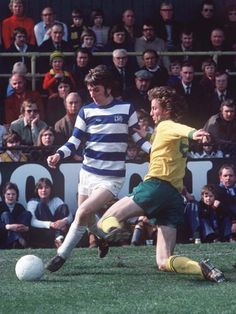 28th August 1973. QPR striker Stan Bowles in action against Norwich City during their opening home fixture of the season at Loftus Road.