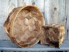 Swedish handwoven Large and small birch bark by VintageButikGita