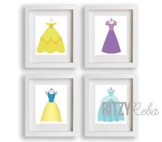 Disney Princess Dress Art Print Set. So cute for a little girl's room!