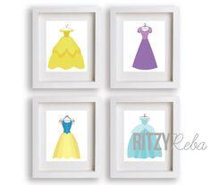 Disney Princess Dress Art Print Set. So cute for a little girl's room!