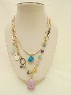 Collar  de piedra natural con agata en cubo , collar con buda de ceramica, amtista, jades, madre perla etc.