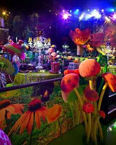 psychedelic bright bold colors used with garden themed room