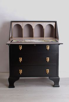 A beautiful Art Deco antique bureau restored & painted in black on the exterior and soft grey on the interior. The desk is lined with Timorous Beasties fabric Desk Revamp, Desk Makeover, Furniture Makeover, Diy Furniture Projects, Repurposed Furniture, Painted Furniture, Painted Desks, Vintage Furniture, Vintage Writing Desk