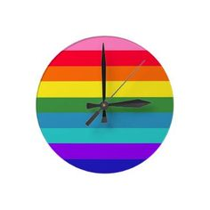 Colorful Rainbow Wall Clock, great home accent or school classroom!