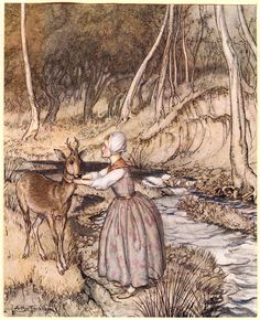 """Frontispiece: """"She took off her golden garter and put it round the roe-buck's neck."""""""
