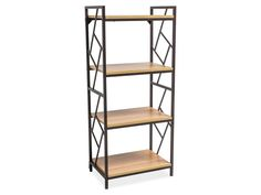 Features: Beautifully designed metal frame Wooden shelves Product Type: Etagere Style: Industrial Colour: Oak/Dark Brown Back Panel: Open Finished Ba Antique Shelves, Wooden Shelves, Etagere Bookcase, Ladder Bookcase, Corner Display Unit, Bathroom Shelf Decor, Iron Steel, Hazelwood Home, Framing Materials