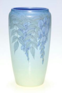 ~Rookwood~Artist: Ed Diers~Circa 1931~Wisteria Blooms Hanging Down From The Rim-Vellum Glazed Vase~