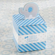 Add a fun and funky elephant touch to your next birthday party or baby shower with this blue elephant favor box!