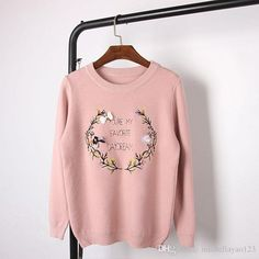 2016 White/Gray/Pink Love Heart Flower Embroidery Bee Butterfly Sequins Long Sleeves 2016 Top Quality Women'S Pullovers 100102 From Michellayao123, $29.05 | Dhgate.Com