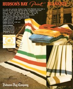 Vintage Hudson's Bay Ad in unseren Archiven @ Hudson's Bay gefunden Vintage Cabin, Vintage Wool, Vintage Shops, Mountain Man Clothing, Hudson Bay Blanket, American Women, American Indians, American Art, American History