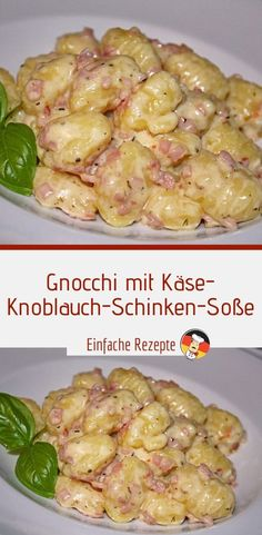 Ingredients 500 g gnocchi 1 clove of garlic 4 slices of ham 150 ml cream 5 . - Ingredients 500 g gnocchi 1 clove of garlic 4 slices / ham 150 ml cream 50 g processed cheese 2 tbs - Pasta Recipes, Dinner Recipes, Cooking Recipes, Healthy Recipes, Sicilian Recipes, Greek Recipes, Food N, Food And Drink, Parmesan