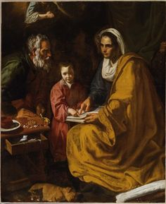 """Attributed to Diego Velázquez The Education of the Virgin, ca. The Yale University Art Gallery """"Donated to the museum in The Education of the Virgin—depicting Saint Anne teaching a young Virgin Mary to read—was long considered to be a. Spanish Painters, Spanish Artists, Saint Joachim, Image Jesus, Diego Velazquez, Art Gallery, Baroque Art, St Anne, Blessed Virgin Mary"""