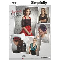 Accessorize in style with vintage-inspired cover-ups, fascinator and hat that can be worn to accompany your everyday look, costume, alternative bridal or other special event. Simplicity sewing pattern.