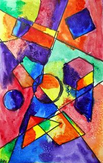 Adventures of an Art Teacher: 4th Grade Shape Paintings - geometric shapes, line, watercolor