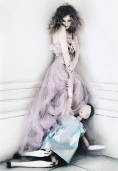 The wonderful Karen Elson (accompanied by a giant doll) in 'Solder, Soldier, Won't You Marry Me?' shot by photographer Tim Walker for Vogue UK April 2008