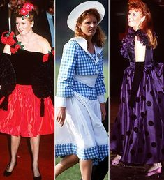 This image represents women's fashion because of the bright colors,patterns,and the dress silhouettes. (hair and accessories). Not flattering IMO. Royal Fashion, 80s Fashion, Fashion Models, Womens Fashion, Duchess Of York, Duke And Duchess, Sarah Ferguson, Duchess Of Cornwall, Dress Silhouette