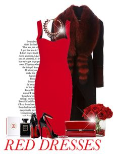 """""""Hot Red Dress"""" by sophisticatedignorance21 ❤ liked on Polyvore featuring Givenchy, Victoria Beckham, Chanel, Diane Von Furstenberg, Posh Girl, SHOUROUK, Kevin Jewelers, women's clothing, women and female"""